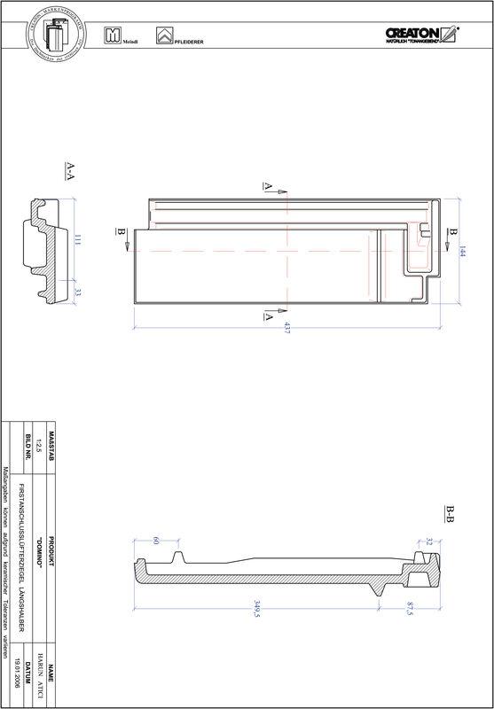 Proizvod CAD file DOMINO podsljemeni odzračni crijep polovica FALLH