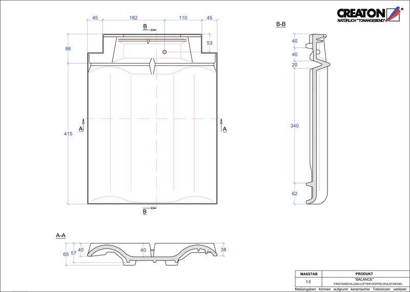 Proizvod CAD file BALANCE podsljemeni odzračni crijep sa dva vala FALDWZ