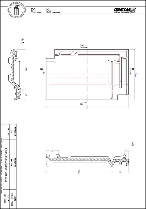 Proizvod CAD file FUTURA podsljemeni odzračni crijep FALZ