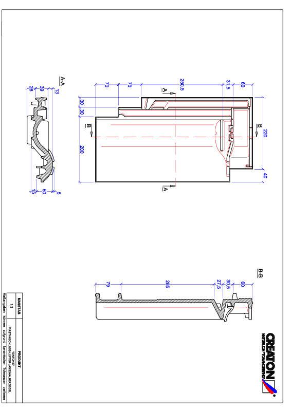 Proizvod CAD file SINFONIE podsljemeni odzračni crijep polovica FALLH