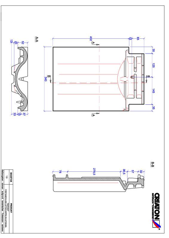 Proizvod CAD file SINFONIE podsljemeni odzračni crijep sa dva vala FALDWZ