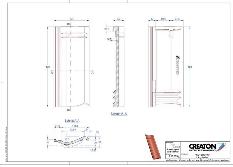 Proizvod CAD file GÖTEBORG polovica crijepa Laengshalber