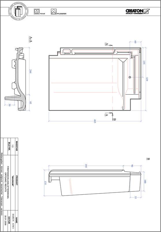 Proizvod CAD file MAGNUM podsljemeni odzračni rubni desni crijep FALOGR