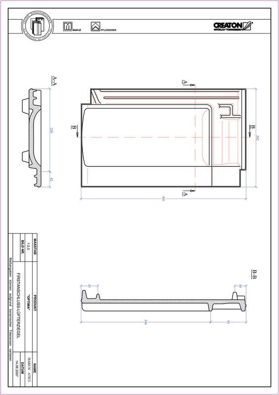 Proizvod CAD file OPTIMA podsljemeni odzračni crijep FALZ
