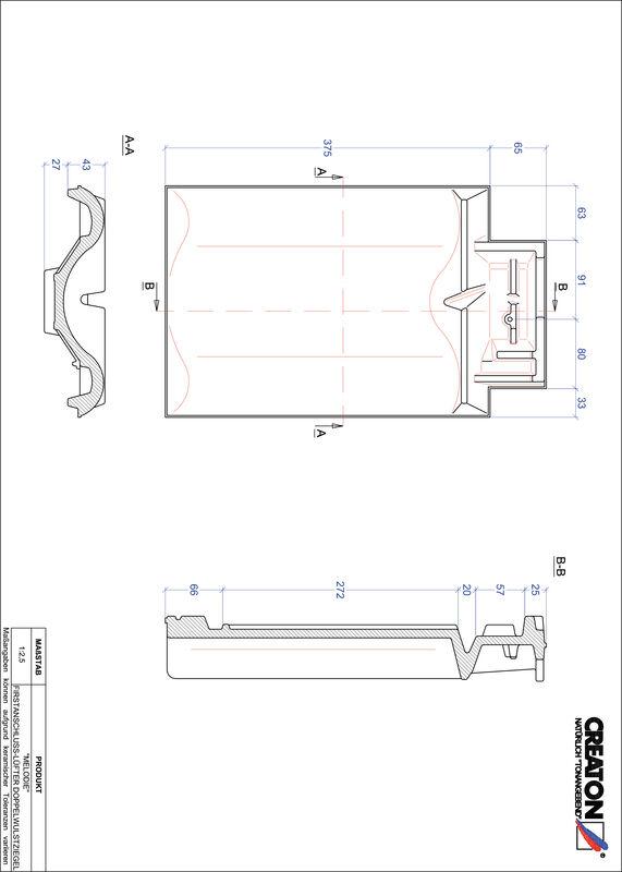 Proizvod CAD file MELODIE podsljemeni odzračni crijep sa dva vala FALDWZ