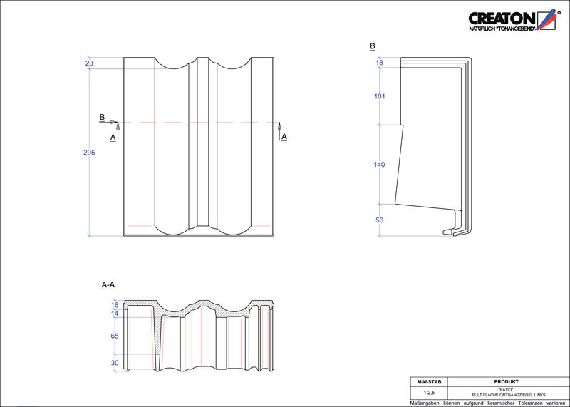 Proizvod CAD file RATIO pult crijep rubni lijevi PULTOGL