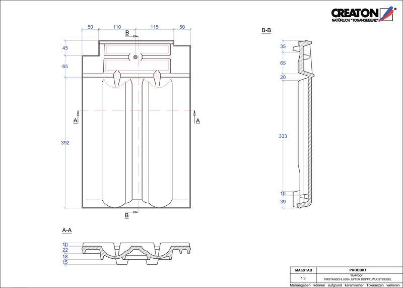 Proizvod CAD file RAPIDO podsljemeni odzračni crijep sa dva vala FALDWZ