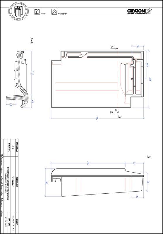 Proizvod CAD file FUTURA podsljemeni odzračni rubni desni crijep FALOGR