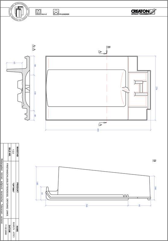 Proizvod CAD file OPTIMA podsljemeni odzračni rubni lijevi crijep FALOGL