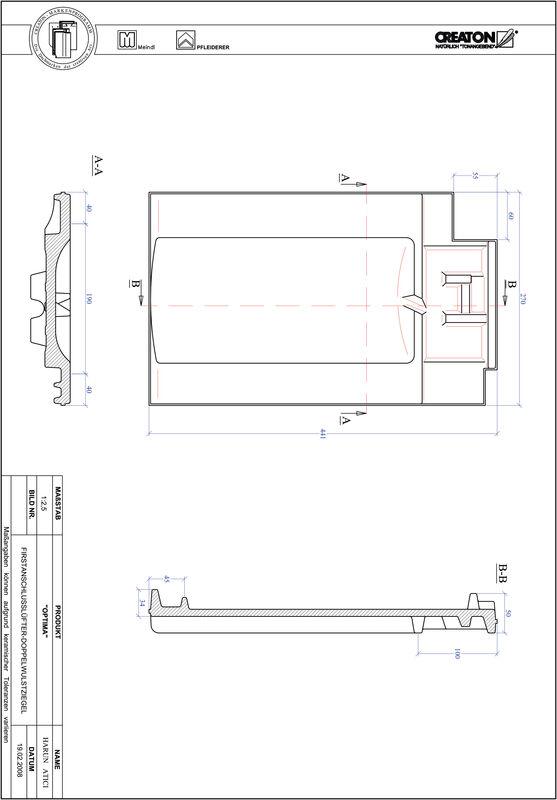 Proizvod CAD file OPTIMA podsljemeni odzračni crijep sa dva vala FALDWZ