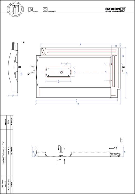Proizvod CAD file OPTIMA aluminijski crijep GRUNDALU