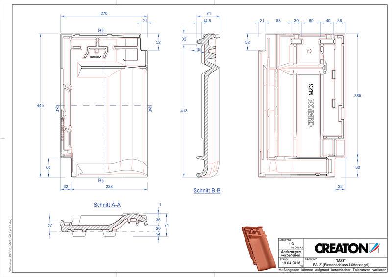 Proizvod CAD file MZ3 NEU podsljemeni odzračni crijep FALZ