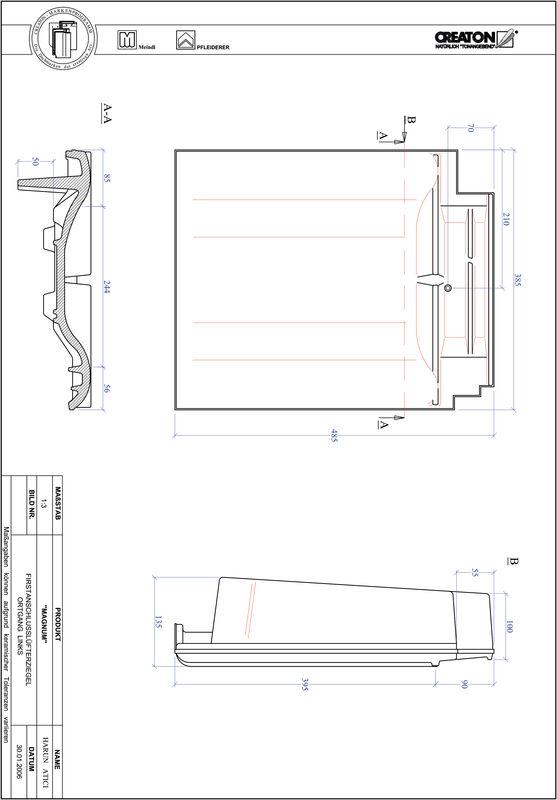 Proizvod CAD file MAGNUM podsljemeni odzračni rubni lijevi crijep FALOGL