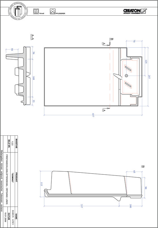 Proizvod CAD file DOMINO podsljemeni odzračni rubni lijevi crijep FALOGL