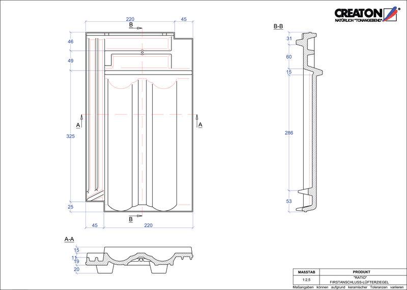 Proizvod CAD file RATIO podsljemeni odzračni crijep FALZ