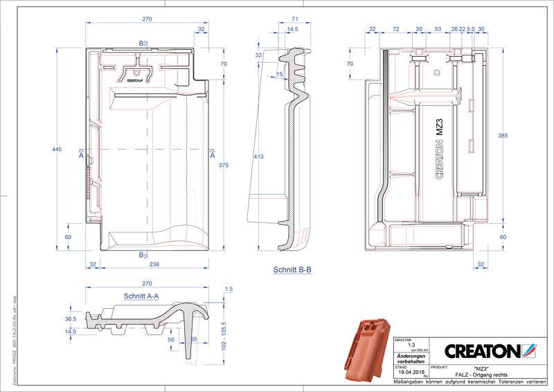 Proizvod CAD file MZ3 NEU podsljemeni odzračni rubni desni crijep FALOGR