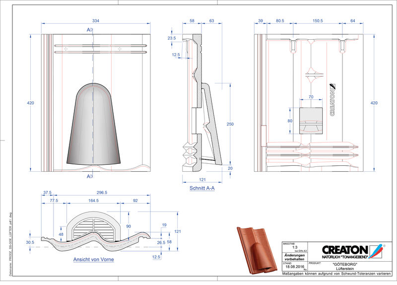 Proizvod CAD file GÖTEBORG betonski odzračnik Luefterstein