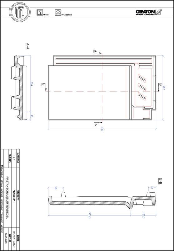 Proizvod CAD file DOMINO podsljemeni odzračni crijep FALZ