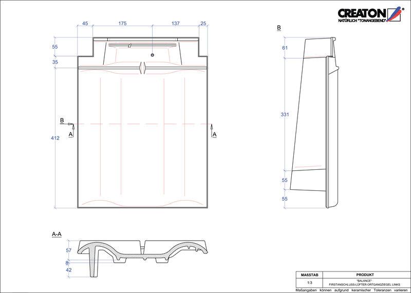 Proizvod CAD file BALANCE podsljemeni odzračni rubni lijevi crijep FALOGL