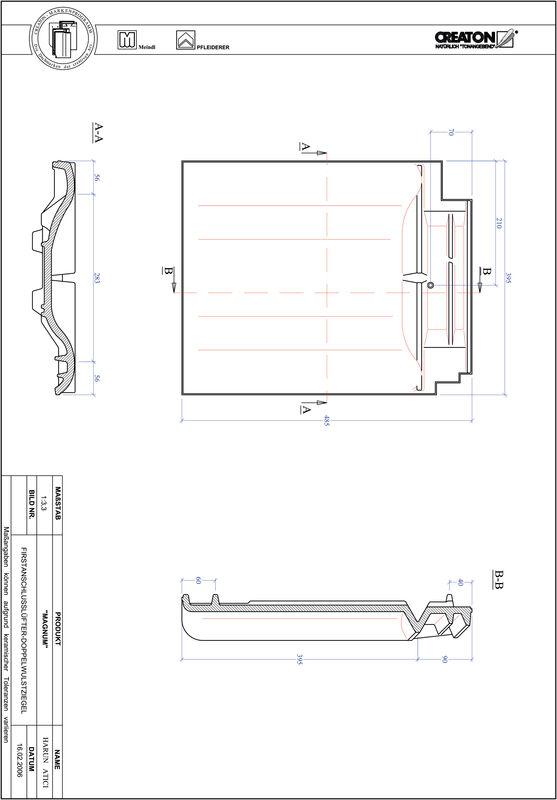 Proizvod CAD file MAGNUM podsljemeni odzračni crijep sa dva vala FALDWZ