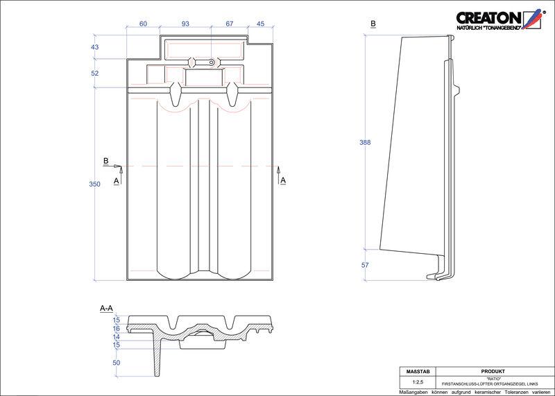 Proizvod CAD file RATIO podsljemeni odzračni rubni lijevi crijep FALOGL