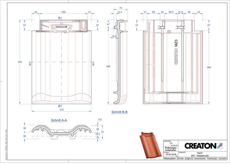 Proizvod CAD file MZ3 NEU crijep sa dva vala DWZ
