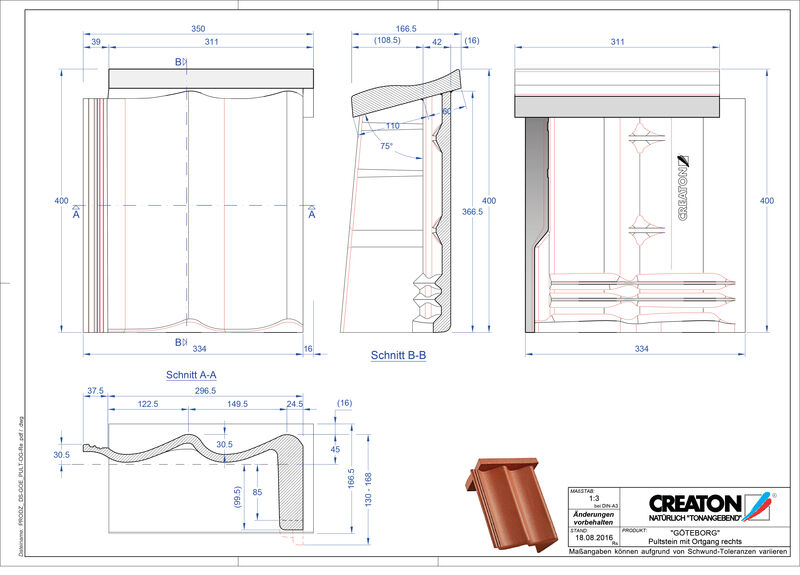 Proizvod CAD file GÖTEBORG betonski pult crijep rubni desni PultOGR