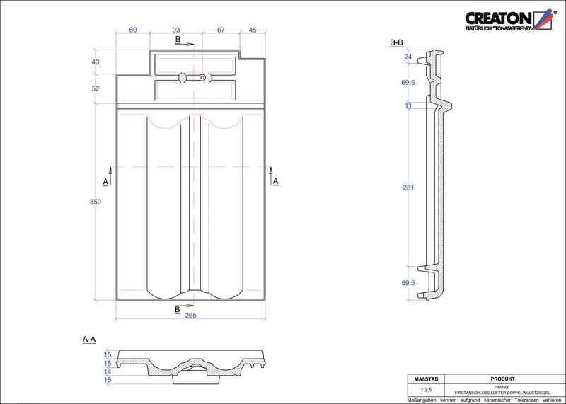Proizvod CAD file RATIO podsljemeni odzračni crijep sa dva vala FALDWZ