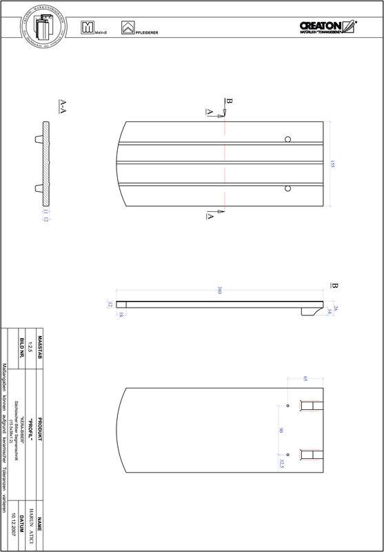 Proizvod CAD file PROFIL segmentni rez KERA-SAECHS-15-CM-1-1