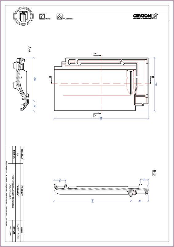 Proizvod CAD file MAGNUM podsljemeni odzračni crijep polovica FALLH
