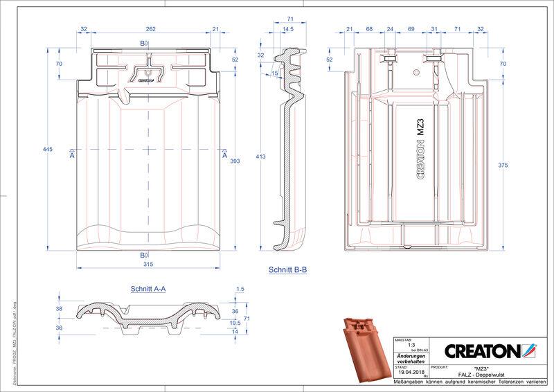 Proizvod CAD file MZ3 NEU podsljemeni odzračni crijep sa dva vala FALDWZ