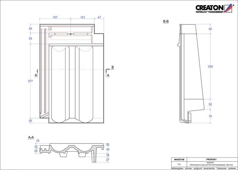 Proizvod CAD file RAPIDO podsljemeni odzračni rubni desni crijep FALOGR