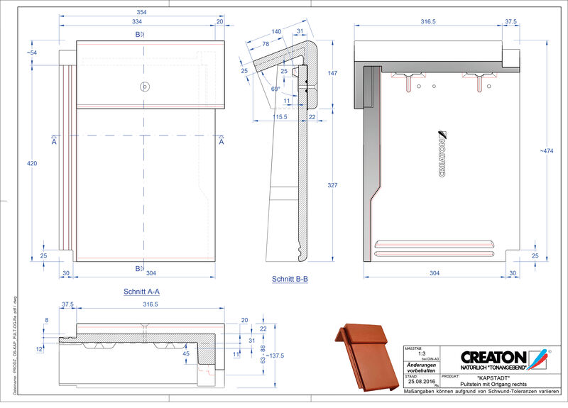 Proizvod CAD file KAPSTADT betonski pult crijep rubni desni PultOGR