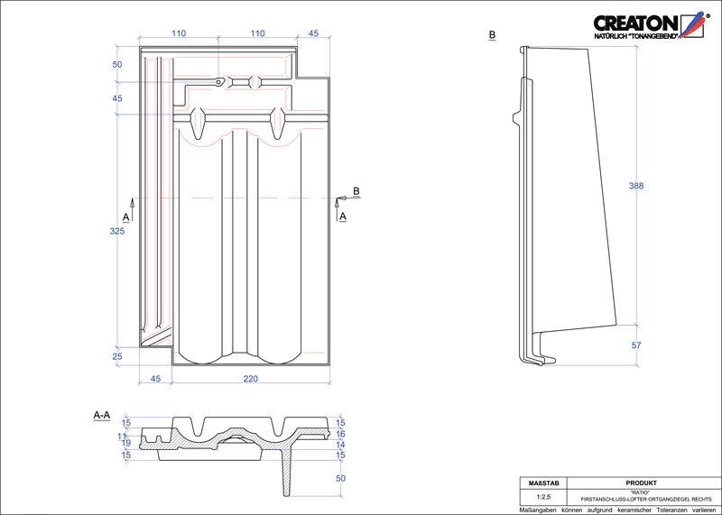 Proizvod CAD file RATIO podsljemeni odzračni rubni desni crijep FALOGR