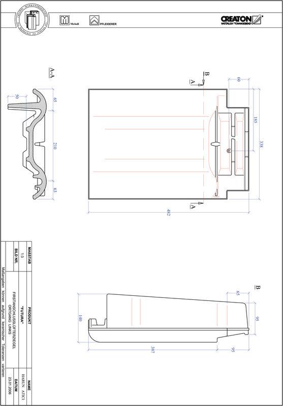 Proizvod CAD file FUTURA podsljemeni odzračni rubni lijevi crijep FALOGL
