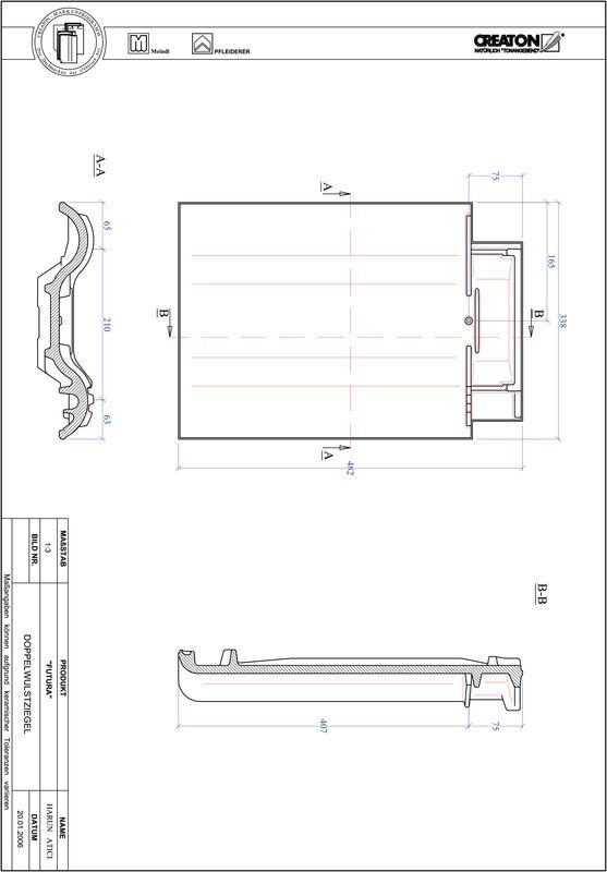 Proizvod CAD file FUTURA crijep sa dva vala DWZ