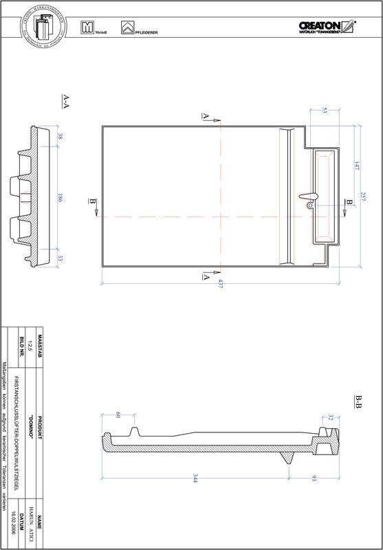 Proizvod CAD file DOMINO podsljemeni odzračni crijep sa dva vala FALDWZ
