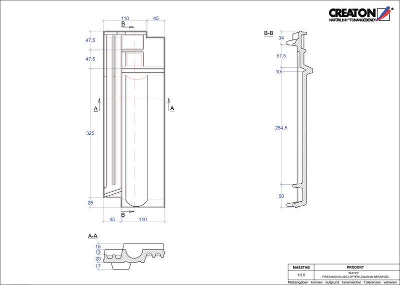Proizvod CAD file RATIO podsljemeni odzračni crijep polovica FALLH