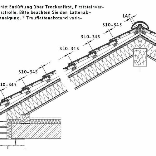 Tehnički crtež proizvoda HEIDELBERG sljeme sa podsljemenim odzračnim crijepom LUEFT-PROFILIERTE-BDS