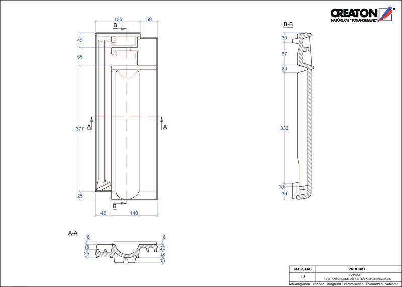 Proizvod CAD file RAPIDO podsljemeni odzračni crijep polovica FALLH