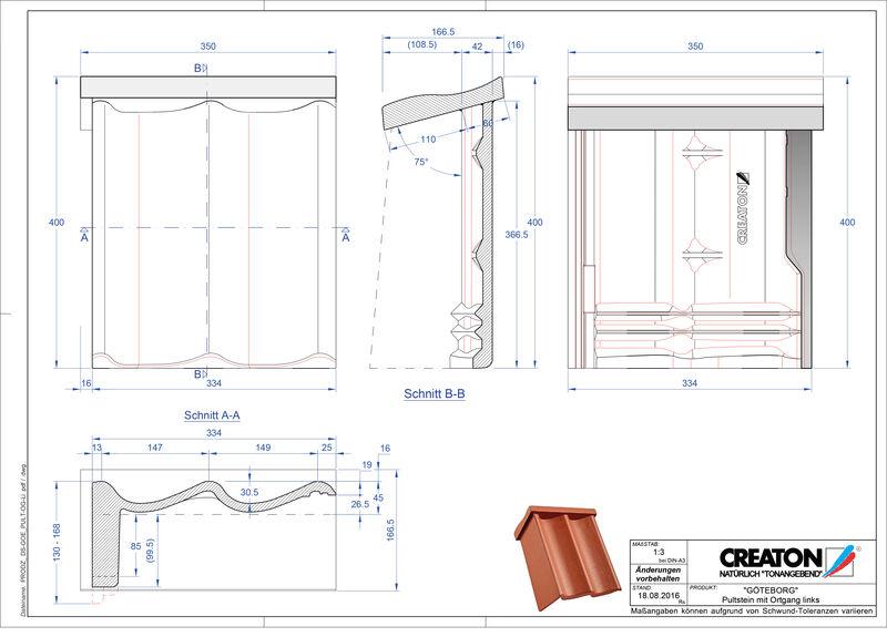 Proizvod CAD file GÖTEBORG betonski pult crijep rubni lijevi PultOGL