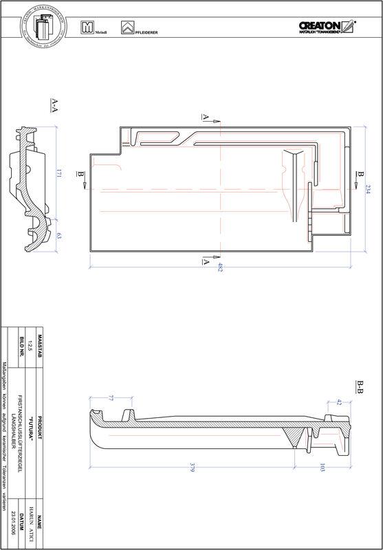 Proizvod CAD file FUTURA podsljemeni odzračni crijep polovica FALLH