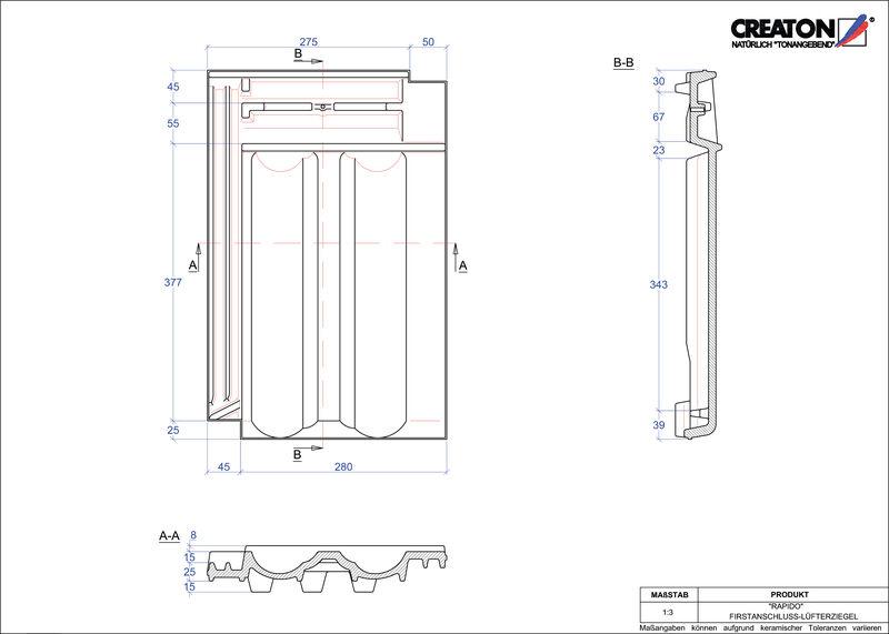 Proizvod CAD file RAPIDO podsljemeni odzračni crijep FALZ