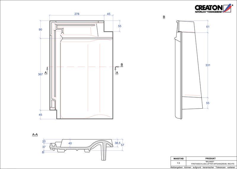 Proizvod CAD file BALANCE podsljemeni odzračni rubni desni crijep FALOGR