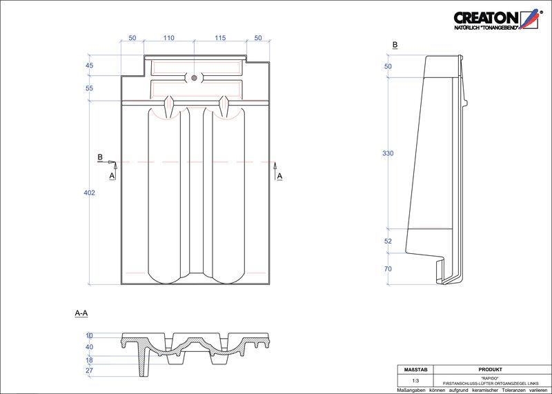 Proizvod CAD file RAPIDO podsljemeni odzračni rubni lijevi crijep FALOGL