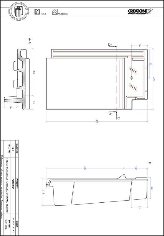 Proizvod CAD file DOMINO podsljemeni odzračni rubni desni crijep FALOGR