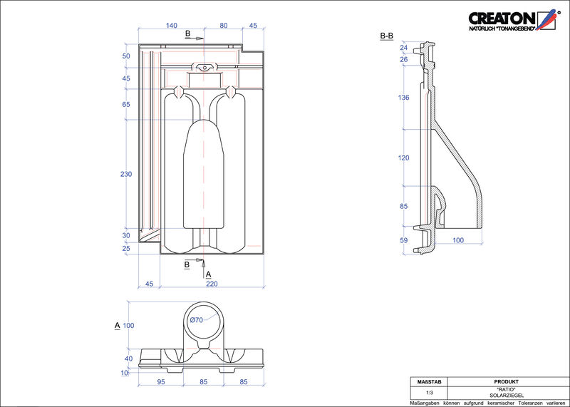 Proizvod CAD file RATIO prolaz cijevi solarnog kolektora SOLAR